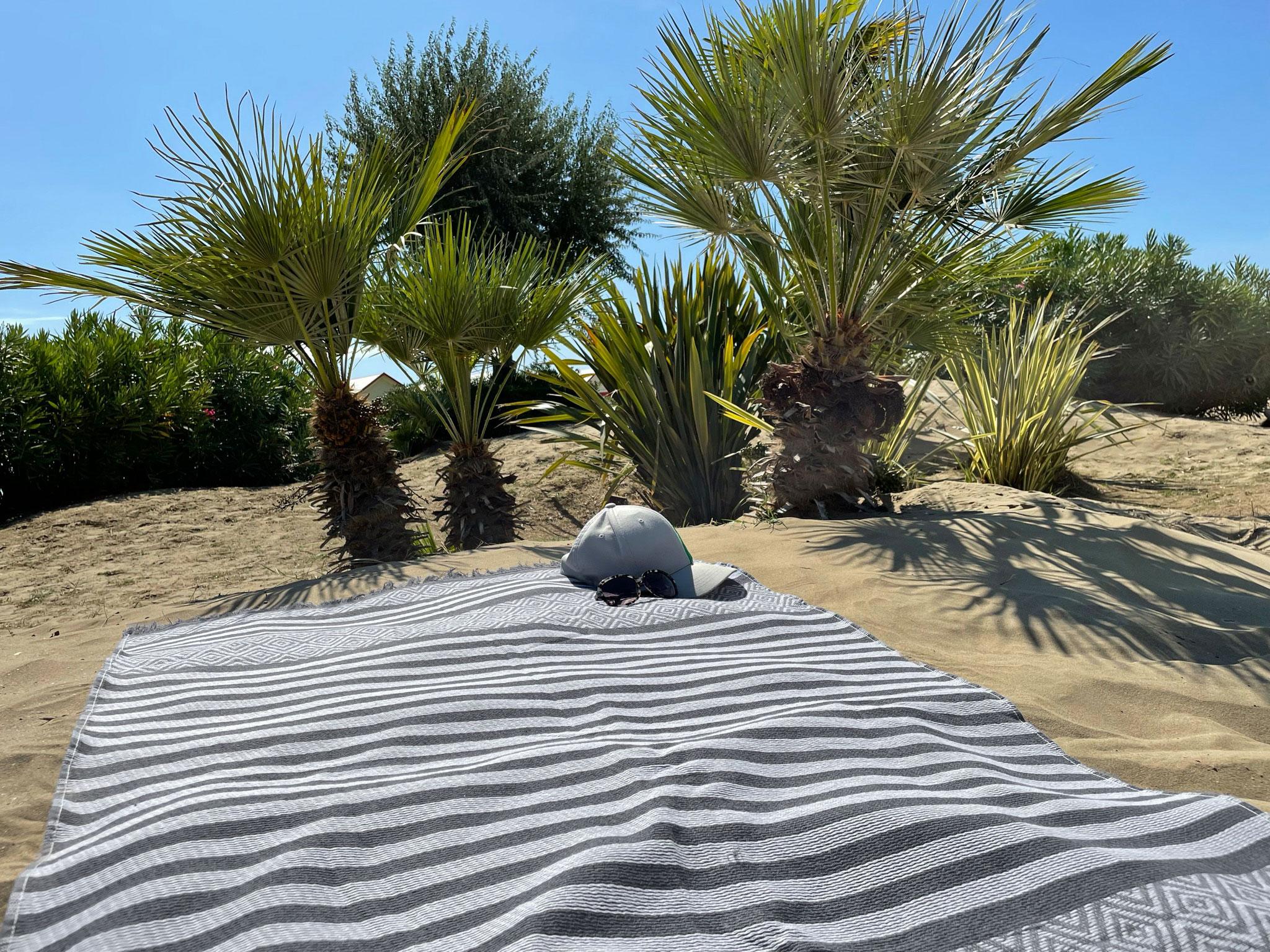 Strandtuch mit Fransen, 100% Baumwolle, grau