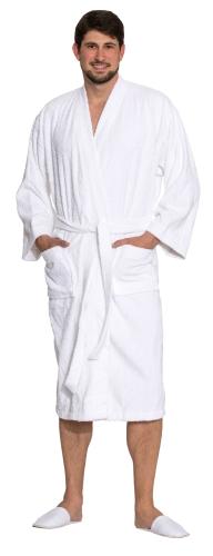 Bademantel (unisex), weiß, 100 % Baumwolle