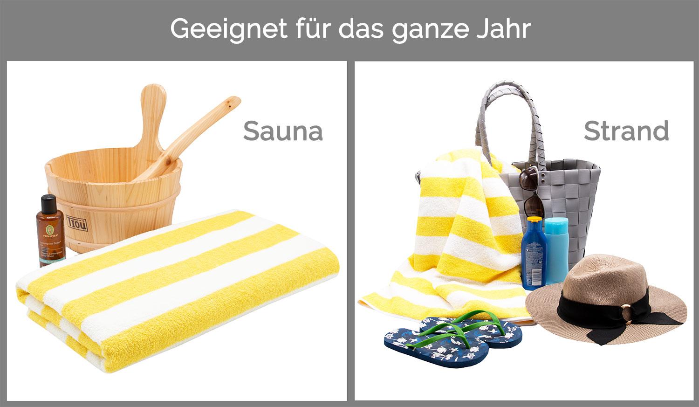 Strandlaken / Saunahandtuch, 70x180 cm, gelb-weiß