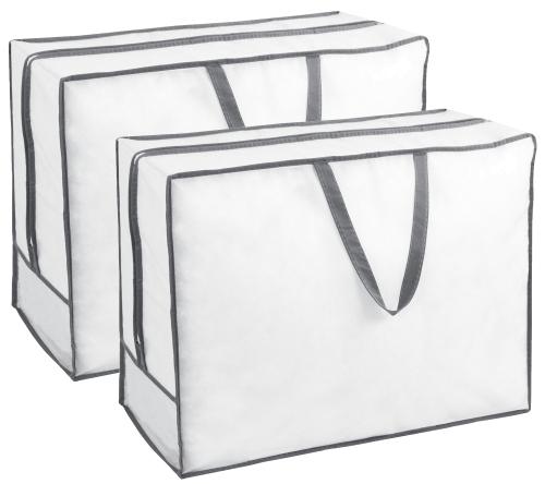 Aufbewahrungstasche (2er-Set), weiß-grau