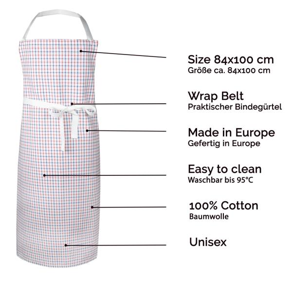 Kochschürze 100% Baumwolle, 84x100 cm, weiß-rot-blau-kariert