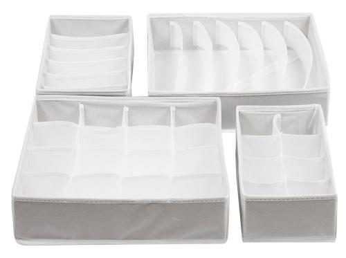 Stoffbox Schublade (4er-Set), weiß