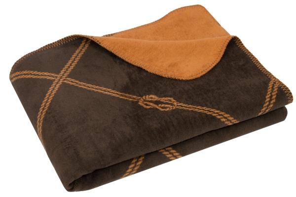 Weiche Kuscheldecke mit stylischem Knotendesign aus 60% Baumwolle/40% Polyacryl, Größe ca. 150x200 cm, verfügbar in den zwei Farben marine-weiß und braun-camel