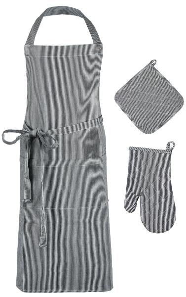 3-teiliges Küchenstarter Set bestehen aus 1 Topflappen 1 Ofenhandschuh und einer Küchenschürze aus 100% Baumwolle, verfügbar in den Farben schwarz, grau und schwarz/weiß-gestreift