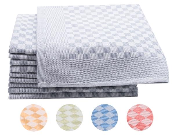 10er-Set Geschirrtücher aus 100% Baumwolle, Größe ca. 46x70 cm, verfügbar in fünf kräftigen Farben, kariert