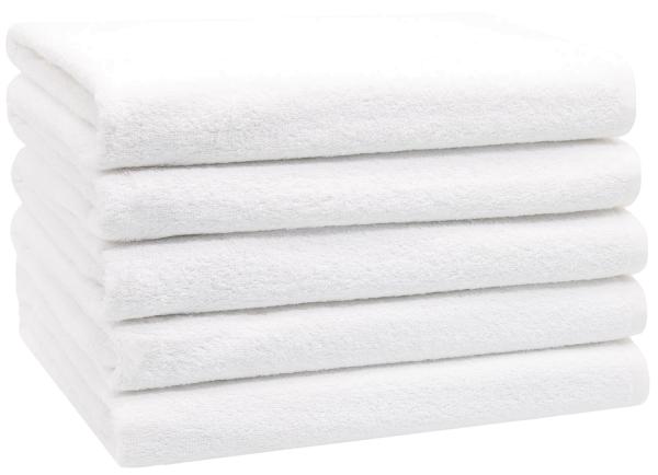 Duschtücher (5er-Set), 100% Baumwolle, 70x140 cm, weiß