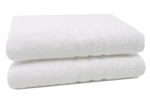 Badetücher (2er-Set) aus 100% Baumwolle, 100x150 cm, weiß