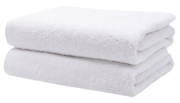 Duschtücher (2er-Set) aus 100% Baumwolle, 70x140 cm, weiß