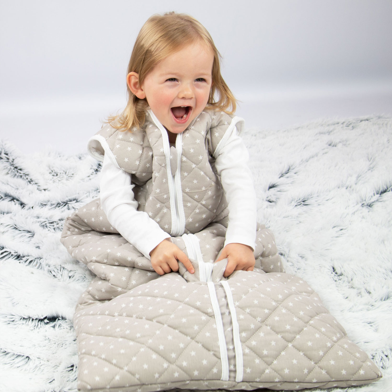 Babyschlafsack, grau, wattiert