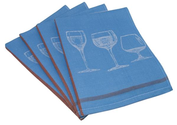 4er-Set Halbleinen-Geschirrtücher, Größe ca. 50x70 cm, verfügbar in den Farben braun, blau und sortiert