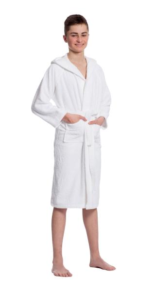 Flauschiger Kinderbademantel mit Kapuze aus 100% saugfähiger Baumwolle, unisex, verfügbar in zwei Größen 122/128 und 152/158, Farbe weiß