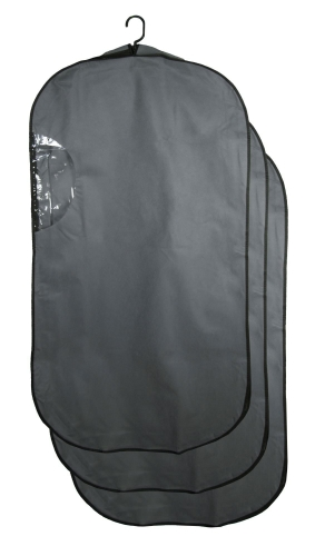 Kleidersack (3-tlg), 60x114x10 cm, Sichtfenster, grau
