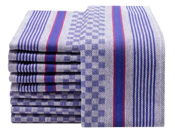 Geschirrtücher (10er-Set), 100% Baumwolle, 45x90 cm, blau-weiß-kariert