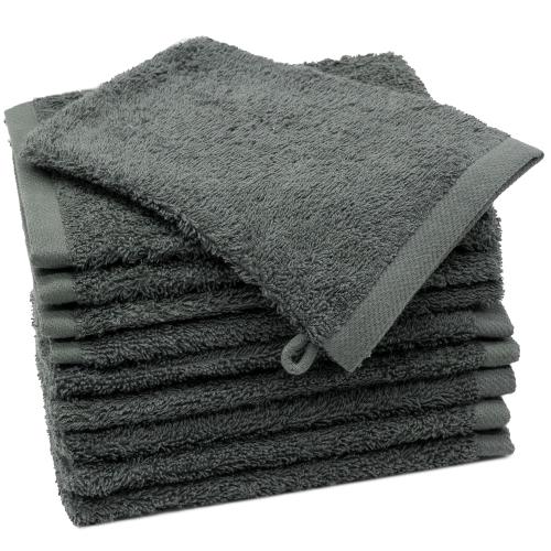 Waschlappen (10er-Set), 100% Baumwolle, anthrazit