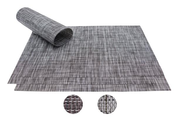 4er-Set hochwertige Tischsets aus PVC und Polyester, Größe ca. 30x45 cm, verfügbar in den Farben braun, stein und graphit