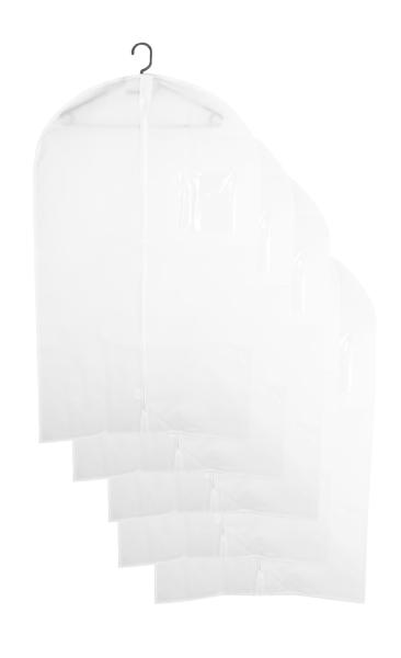 5-er Set atmungsaktive Kleiderschutzhülle aus Vliesstoff mit PVC, Größe ca. 60x100 cm, Farbe weiß