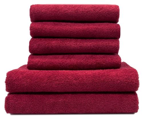 Handtuchset (6-tlg.), 100% Baumwolle, versch. Farben