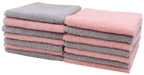 Abschminktücher (14er-Set), 25x25 cm, rosa/grau