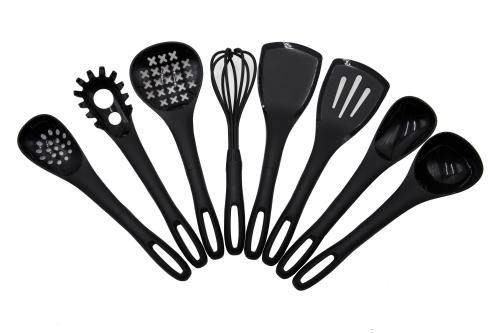 Küchenhelfer (8er-Set) aus Silikon, schwarz