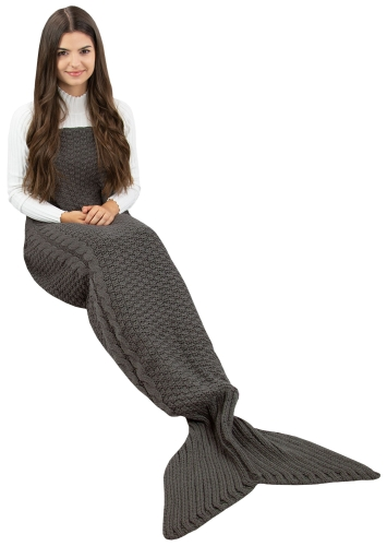 Meerjungfrau Decke mit Zopfmuster ca. 60x180 cm, grau