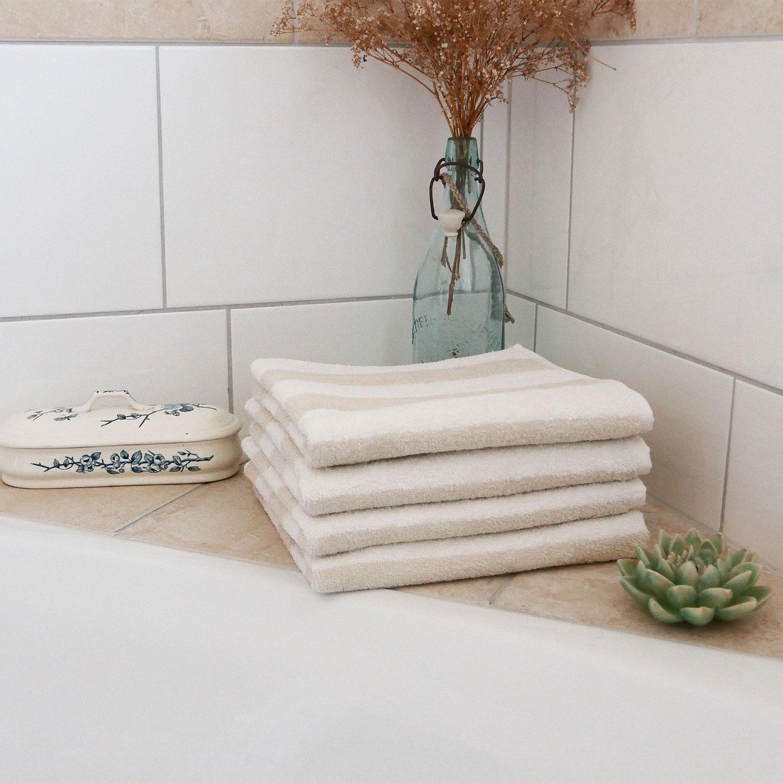 Handtücher (4er-Set), 100% Baumwolle, 50x100 cm, gestreift