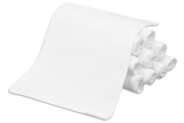 10er-Set Waschlappen aus 100% saugfähiger Baumwolle, schadstoffgeprüft, Größe ca. 17x22 cm, Farbe weiß