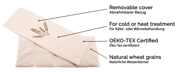 Körnerkissen (abnehmbarer Bezug 100 % Baumwolle), 20x53 cm