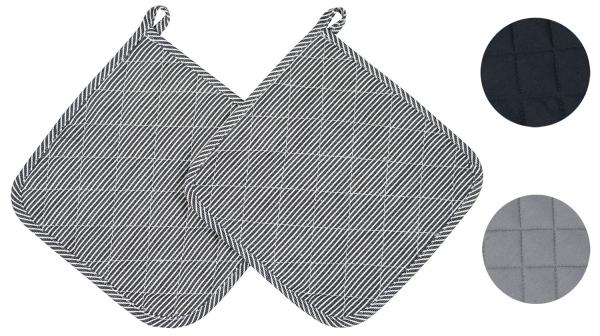 2er-Set Topflappen aus 100% Baumwolle, Größe ca. 24x24 cm, verfügbar in den Farben schwarz, grau und schwarz/weiß-gestreift