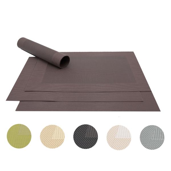 4er-Set Tischsets gewebt aus PVC und Polyester, Größe ca. 32x47 cm, verfügbar in vielen verschiedenen Farben