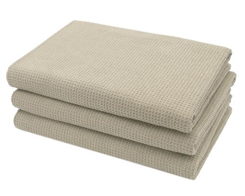 Duschtücher (3er-Set), 100% Baumwolle, Waffelpique