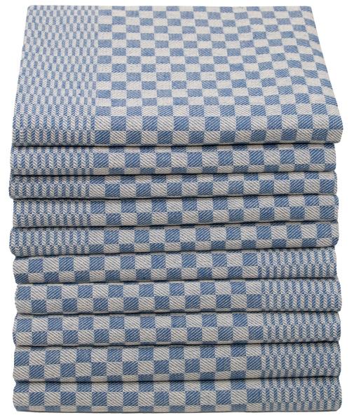 Geschirrtücher (4er/10er Set), Baumwolle, blau-weiß-kariert