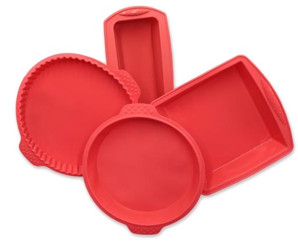 4-er Set Silikonbackformen, bestehend aus: 1x Kastenform ca. 21x8,5x6 cm, Backform eckig ca. 18x19x5 cm, Backform rund Ø ca. 22 cm und Bodenform ca. Ø 25 cm, Farbe rot