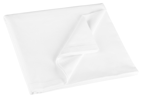 Klassisches Betttuch/Bettlaken aus 100% Baumwolle ohne Gummizug, verfügbar in den Größen ca. 150x260 cm, 180x290 cm und 300x300 cm, Farbe weiß