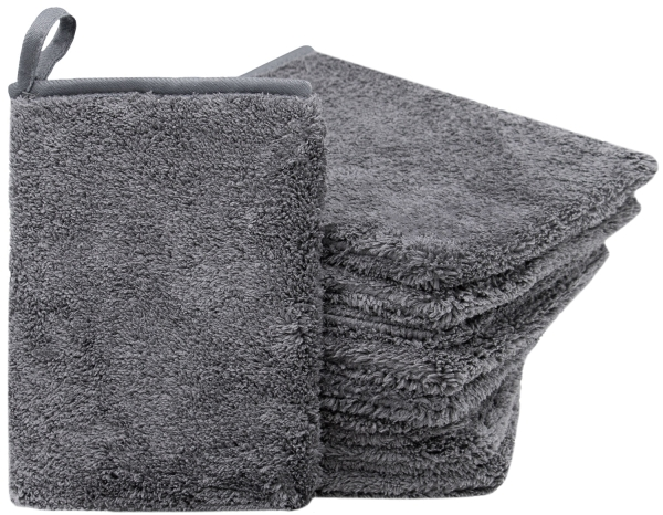 Mikrofaser Waschlappen (9er-Set), 16x21 cm, grau