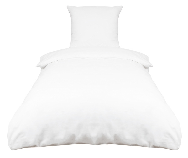 2-teilige Bettwäsche-Garnitur aus hochwertiger Baumwolle mit Hotelverschluss, Farbe weiß