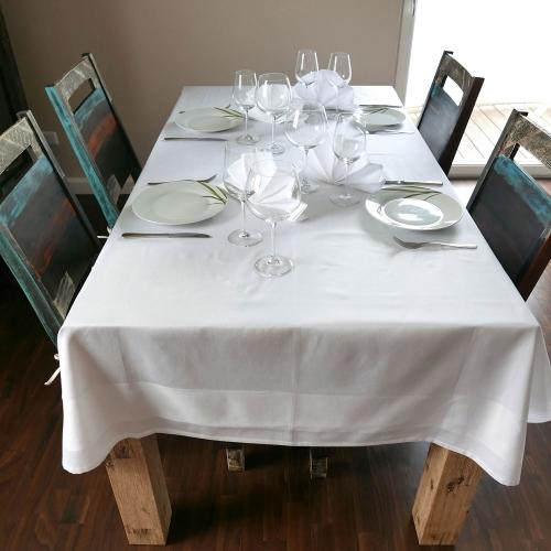 Damast-Tischdecke, 100 % Baumwolle, weiß