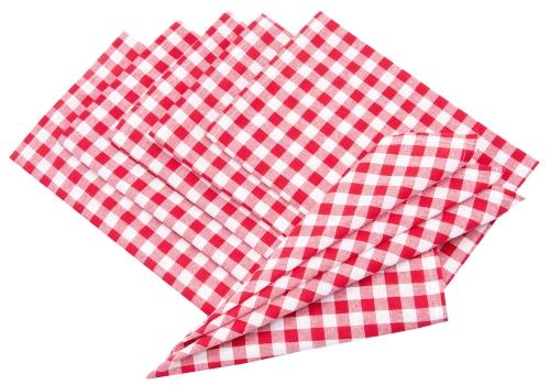 Stoffservietten (6er-Set) 100 % Baumwolle, rot-weiß-kariert
