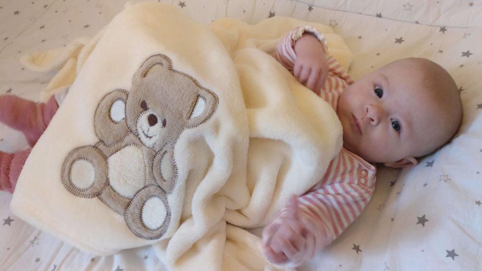 Babydecke, 75x100 cm, wollweiß oder marine
