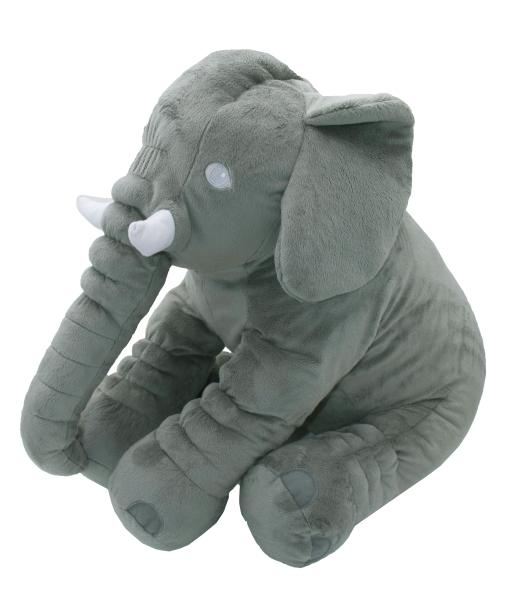 weiches Babykissen als Elefant aus 100% anpassungsfähigem Polyester, Größe ca. 60x30x45 cm, Farbe grau